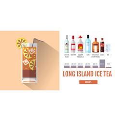Flat style cocktail long island ice tea menu vector