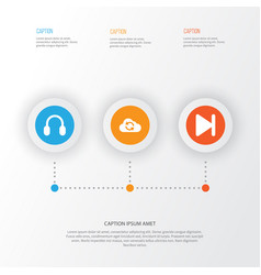 Music icons set collection of finish cloud vector