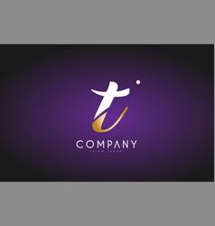 T alphabet letter gold golden logo icon design vector
