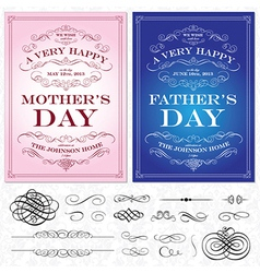 Mothers and fathers day cards vector image
