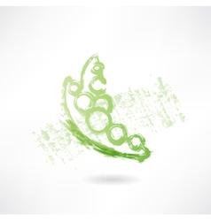 Green peas grunge icon vector