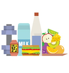 Fitness tools with healthy food vector