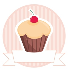 Sweet cherry cupcake on pink stripes background vector