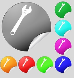 Wrench icon sign set of eight multi colored round vector