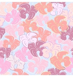 Seamless pattern of hibiscus flowers floral color vector