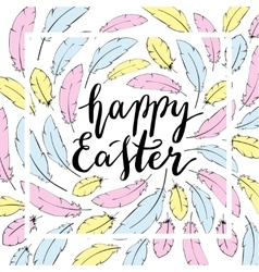 Happy easter card template hand lettering vector