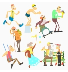 Old people activities flat vector