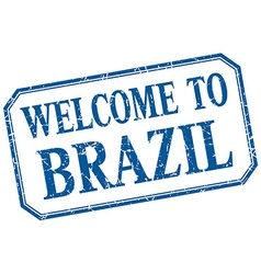 Brazil - welcome blue vintage isolated label vector