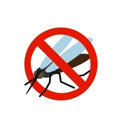 Warning sign with mosquito icon vector