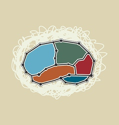 abstract brain symbol retro style vector image vector image