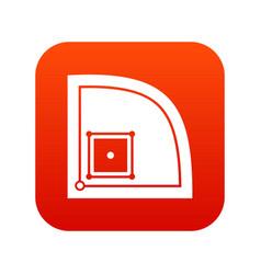 Baseball field icon digital red vector