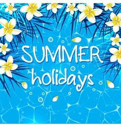 Blue summer marine background with flowers vector image vector image
