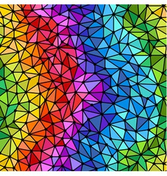 Bright rainbow triangles low poly seamless pattern vector image