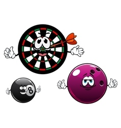 Cartoon bowling billiard and dartboard characters vector