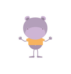 Colorful faceless caricature of hippo with t-shirt vector