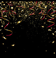 congratulatory golden confetti and serpentine vector image