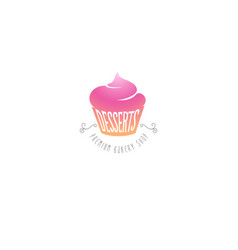 cupcakes and desserts sweet shop emblem vector image