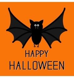 Cute bat happy halloween card flat design vector