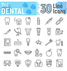 dental line icon set stomatology symbols vector image