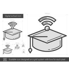 Digital school line icon vector