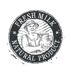 drink logo design template milk or sour vector image vector image