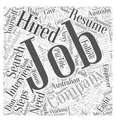 Eight steps on how to get hired word cloud concept vector
