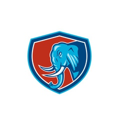 Elephant Head Side Shield Cartoon vector image