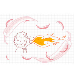 Female breathing fire hot chili pepper concept vector