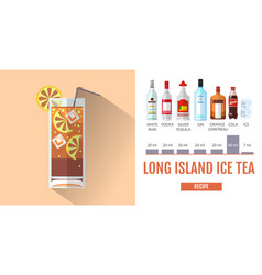 Flat style cocktail long island ice tea menu vector