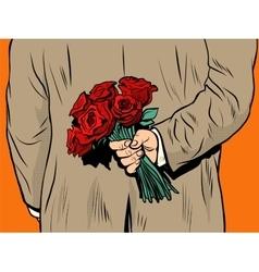 Flower bouquet roses gift surprise vector