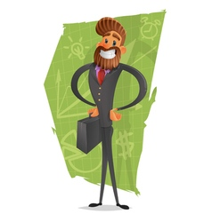 Happy businessman or manager is looking through a vector image vector image