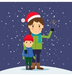 Happy winter time mom and son with fireworks vector