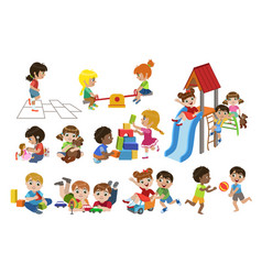Kids playing indoors set vector