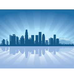 Los angeles skyline with reflection in water vector