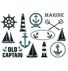 Marine heraldic elements set vector image