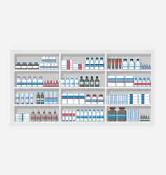 medicines shelves in pharmacy shop drug store vector image