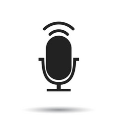microphone icon flat microphone sign symbol with vector image vector image