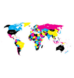 political map of world in cmyk colors with country vector image vector image