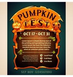 Pumpkin fest poster vector