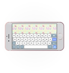 Realistic smartphone with keyboard on screen in vector