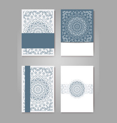 Retro hand-drawn card with mandala vintage vector