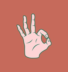 Retro screen print hand giving the ok sign vector