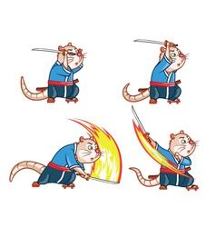 Samurai mouse attack sprite vector