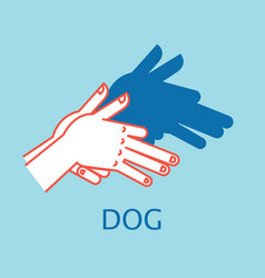 shadow theater hands gesture like dog vector image