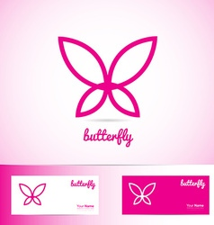 Simple pink butterfly for spa beauty and wellness vector image