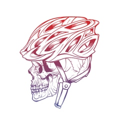 Stylized skull wearing a cyclist helmet design for vector