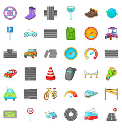 Traffic in city icons set cartoon style vector