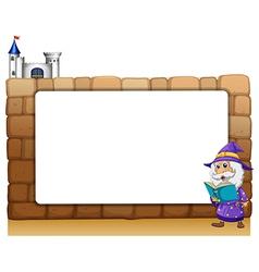 Wizard castle border frame vector
