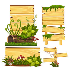 Wooden sign template with moss and mushroom vector