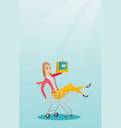 Young caucasian woman riding in shopping trolley vector